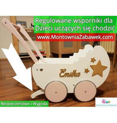 Wózek drewniany ZŁOTO dla lalek + IMIĘ + pościel 20 wzorów Ekspresowa wysyłka