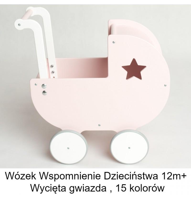 Wózek drewniany Wspomnienie Dzieciństwa 12m+ wycięta gwiazda