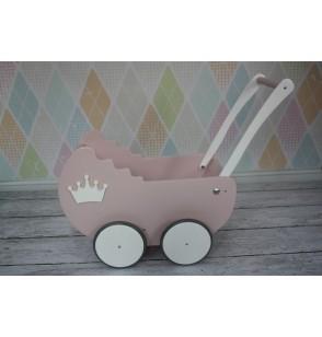 Wózek Drewniany dla lalek + 2 dekory