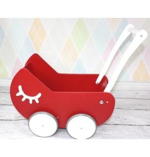 Wózek dla Lalek z płaskim daszkiem + IMIĘ + 2 dekory