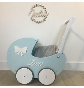 Wózek z Budką + IMIĘ Drewniany ekologiczny dla lalek HIT babyshower prezent roczek 100% Polski